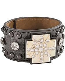 Blazin Roxx Embellished Faux Leather Cuff Bracelet