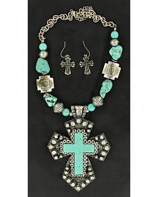 Blazin Roxx Turquoise Stone Large Cross Necklace & Earrings Set