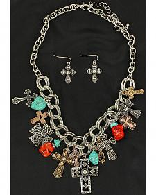 Blazin Roxx Cross & Stone Charms Necklace & Earrings Set