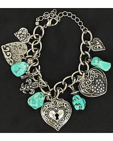 Blazin Roxx Locked Heart Charm Bracelet