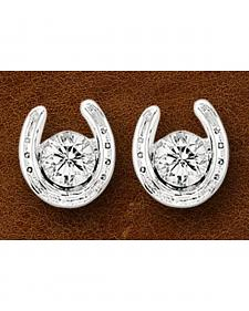 Kelly Herd Sterling Silver Rhinestone Horseshoe Stud Earrings
