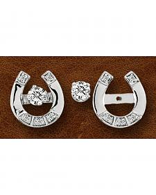 Kelly Herd Sterling Silver Horseshoe & Rhinestone Stud Earrings