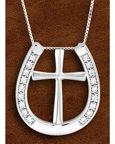 Kelly Herd Sterling Silver Rhinestone Horseshoe & Cross Charm Necklace