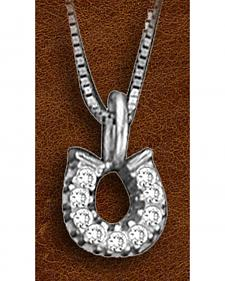 Kelly Herd Sterling Silver Tiny Rhinestone Horseshoe Charm Necklace