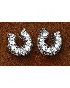 Kelly Herd Sterling Silver Tiny Rhinestone Horseshoe Earrings