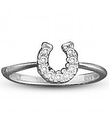 Kelly Herd Sterling Silver Rhinestone Horseshoe Ring