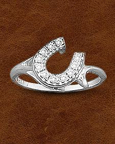 Kelly Herd Sterling Silver Offset Rhinestone Horseshoe Ring