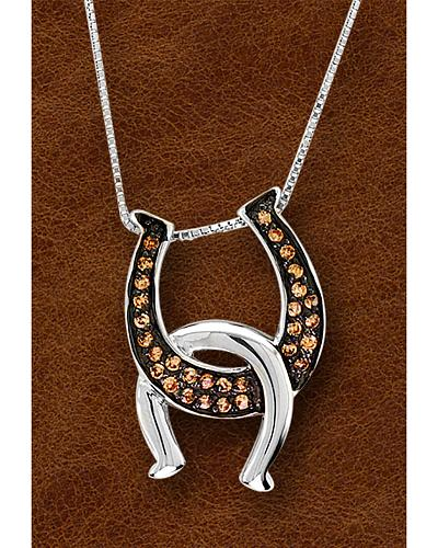 Kelly Herd Sterling Silver Painted Black Interlocking Horseshoe Necklace Western & Country S2JCHOC