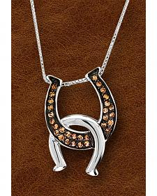 Kelly Herd Sterling Silver Painted Black Interlocking Horseshoe Necklace