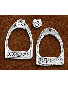 Kelly Herd Sterling Silver Large Rhinestone Stirrup Earrings