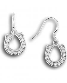 Kelly Herd Sterling Silver Rhinestone Horseshoe Dangle Earrings