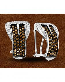 Kelly Herd Sterling Silver Rhinestone Embellished Buckle Clip-On Earrings
