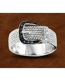 Kelly Herd Sterling Silver Rhinestone Buckle Ring