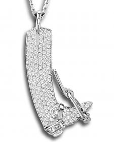 Kelly Herd Sterling Silver Rhinestone Embellished English Boot Pendant