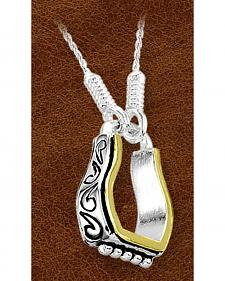 Kelly Herd Sterling Silver Fancy Engraved Stirrup Necklace