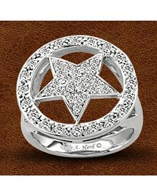 Kelly Herd Sterling Silver Crystal Circle Star Ring