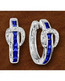Kelly Herd Sterling Silver Blue Rhinestone Buckle Earrings
