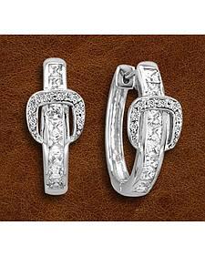 Kelly Herd Sterling Silver Rhinestone Buckle Earrings