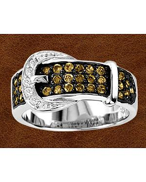 Kelly Herd Sterling Silver Chocolate Rhinestone Buckle Ring