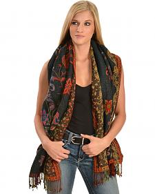 Quagga Embroidered Wooly Tapestry Wrap