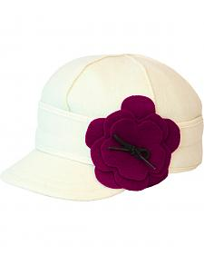 Stormy Kromer Women's Winter White & Raspberry Petal Pusher Cap