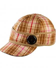 Stormy Kromer Women's Pink & Brown Plaid The Button Up Cap