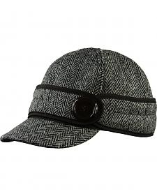 Stormy Kromer Women's Black Harris Tweed The Button Up Cap