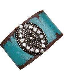 Cowgirl Confetti by AndWest Turquoise Leather Cuff with Oval Madeallion and Rhinestones