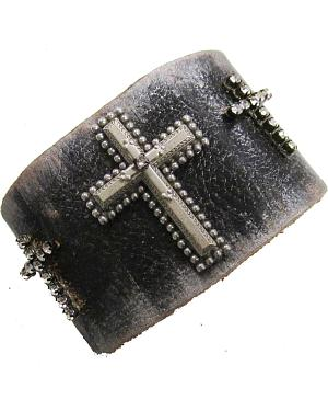 Cowgirl Confetti by AndWest Three Crosses Leather Cuff