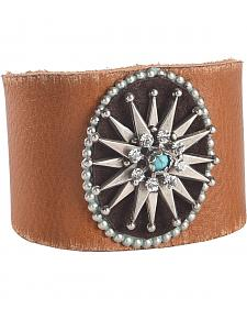 Cowgirl Confetti by AndWest Silver Starburst Concho Leather Cuff