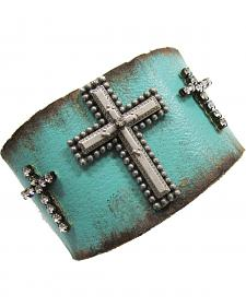 Cowgirl Confetti by AndWest Turquoise Three Crosses Leather Cuff