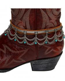 Cowgirl Confetti by AndWest Leather, Chain, & Turquoise Bead Boot Bracelet