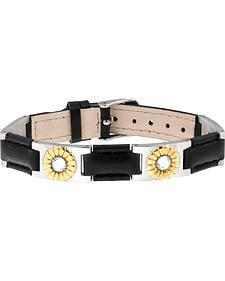 Sabona of London Black Leather Gem Duet Magnetic Bracelet