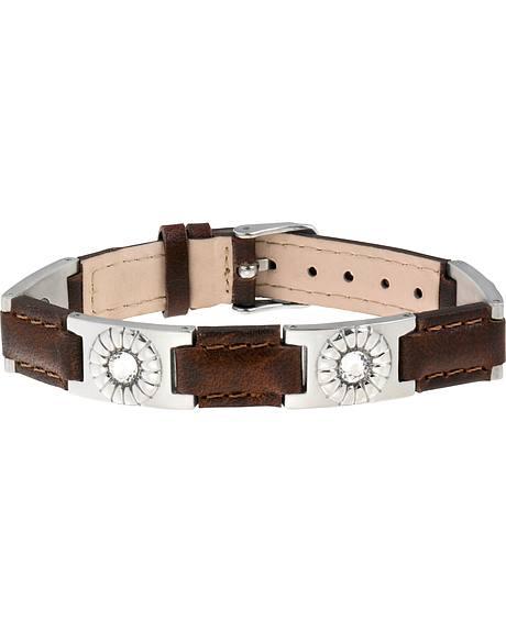 Sabona of London Brown Leather Gem Stainless Magnetic Bracelet