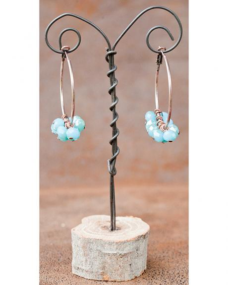 West & Co. Burnished Copper Hoop with Dangling Turquoise Bead Earrings