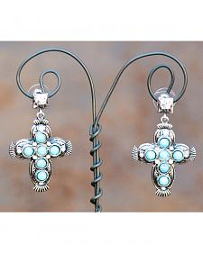 West & Co. Burnished Silver Turquoise Cross Earrings