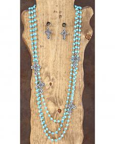 West & Co. 3-Strand Turquoise & Silver Cross Necklace & Earrings Set