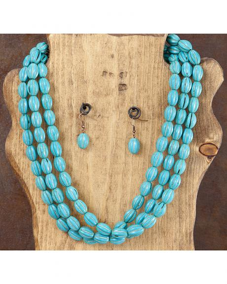 West & Co. 3-Strand Turquoise Melon Bead Necklace & Earrings Set