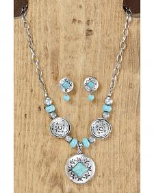 West & Co. Concho Turquoise & Silver Necklace & Earrings Set