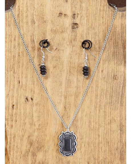West & Co. Burnished Silver & Black Pendant Necklace & Earrings Set
