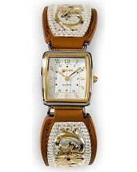 Montana Silversmiths Flower Overlay Leather Watch at Sheplers