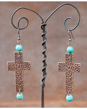 West & Co. Hammered Copper Cross Earrings