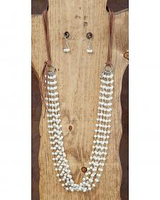West & Co. Multi-Strand Pearl & Leather Necklace & Earrings Set