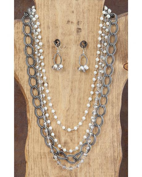 West & Co. Multi-Strand Pearl & Chain Necklace & Earrings Set