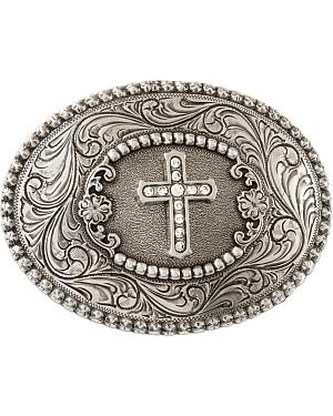 Nocona Rhinestone Cross Belt Buckle