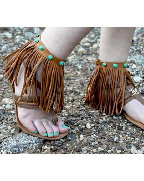 Jewelry Junkie Genuine Leather Tan Fringe Ankle Wraps