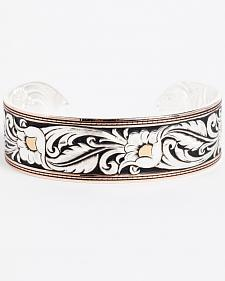 Montana Silversmiths Women's LeatherCut Tri-Colored Floral Cuff Bracelet