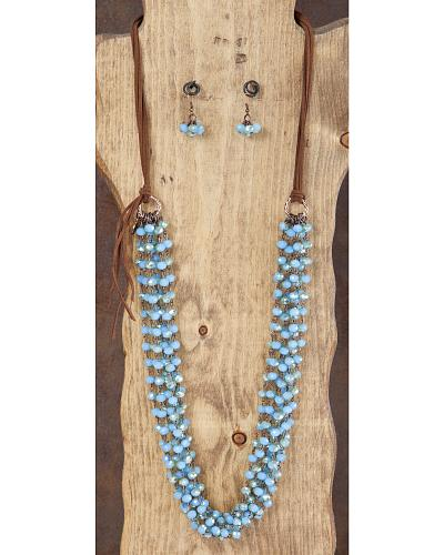 West & Co. Turquoise Sparkle Bead Multi Strand Leather Necklace & Earrings Set Western & Country N918