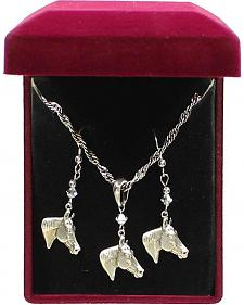Lightning Ridge Horse Head Pendant Necklace Set