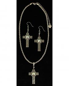 Lightning Ridge Rhinestone-bedecked Cross Charm Necklace Set